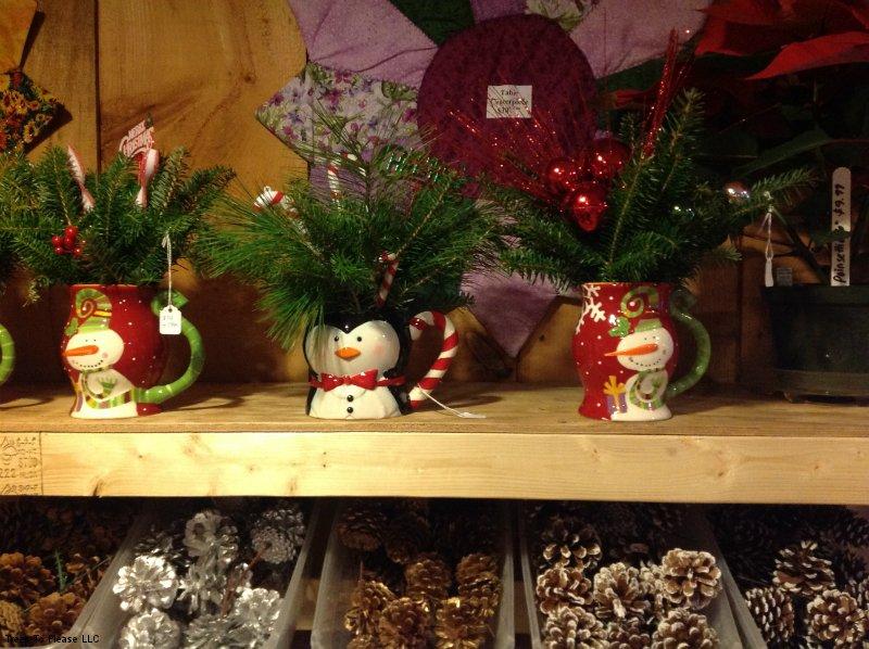 Floral Arrangement in Penguin Holiday Mug